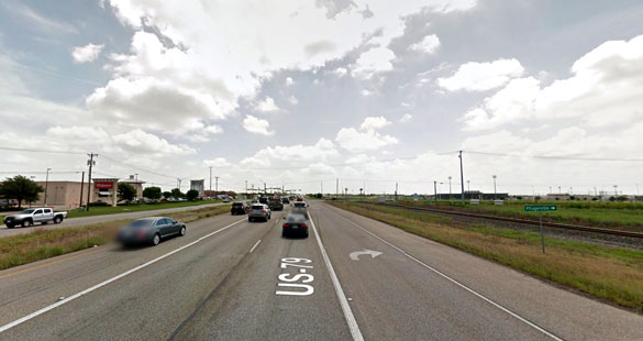 The object was sphere-shaped and appeared to be searching for something at the ground level. Pictured: Hutto, Texas. (Credit: Google)
