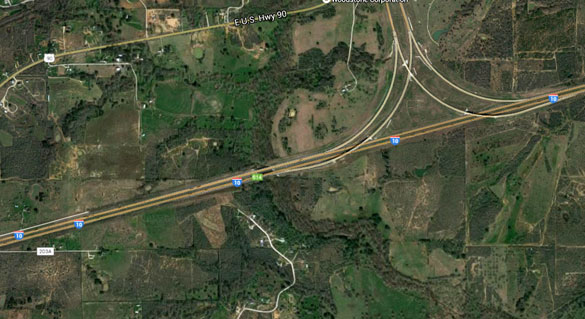 When the trucker reached mile marker 614 he had his own encounter with multiple hovering objects. Pictured: The mile marker 614 area. (Credit: Google Maps)