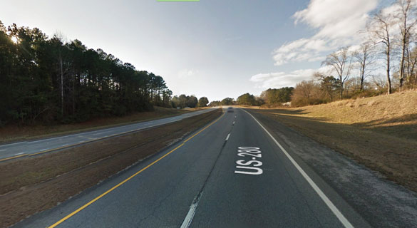 As he approached the area, the witness noticed a fire in the median area and a rectangle-shaped object hovering above nearby trees. Pictured: A stretch of U.S. 280 near Dadeville. (Credit: Google Map)