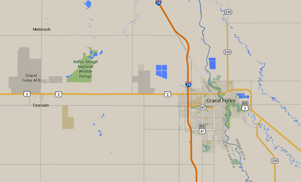 The craft was observed hovering just above a telephone pole. Grand Forks Air Force Base is 16 miles west of Grand Forks, ND. (Credit: Google)