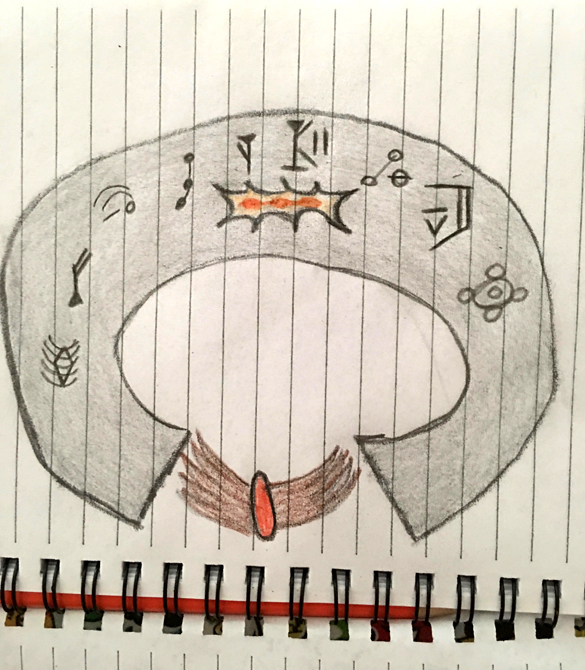 Witness sketch of the bracelet. (Credit: MUFON)