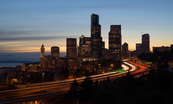 The object made unusual starts and stops in the sky. Pictured: Seattle, WA. (Credit: Wikimedia Commons)