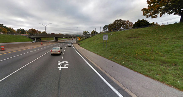 The witness said the object was somewhat oblong horizontally, but along the visible edges there were 'pieces' that appeared to be sticking out from the body. Pictured: A portion of I-75 in Hazel Park, MI. (Credit: Google Maps)