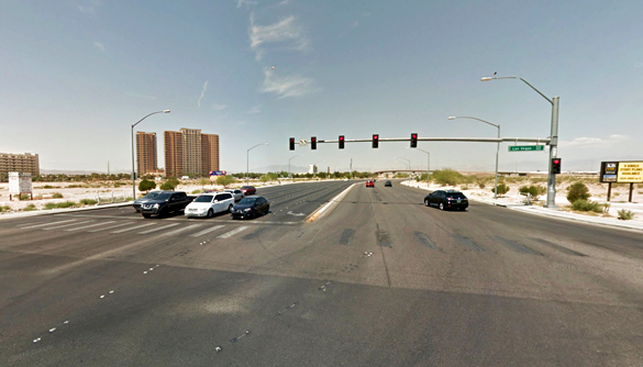 The object appeared to be triangular or crescent in shape. Pictured: Las Vegas Boulevard at Blue Diamond intersection. (Credit: Google)