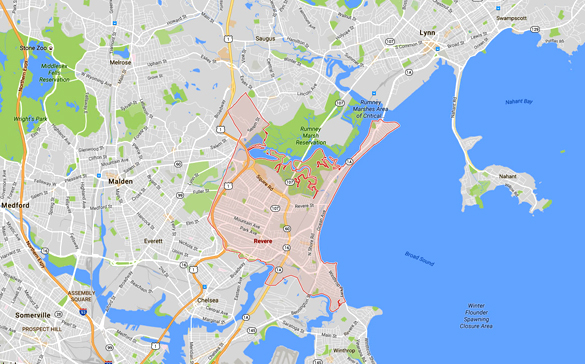 The witness said the object was moving at the tree top level and was silent as it moved through Revere, MA. (Credit: Google)