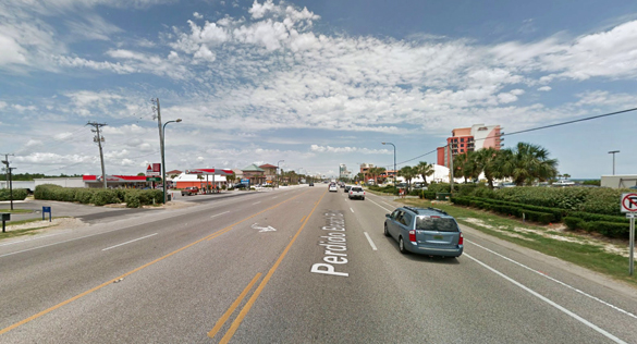 The witness stepped outside and was engulfed in a beam of blue light. Pictured: Orange Beach, AL. (Credit: Google)