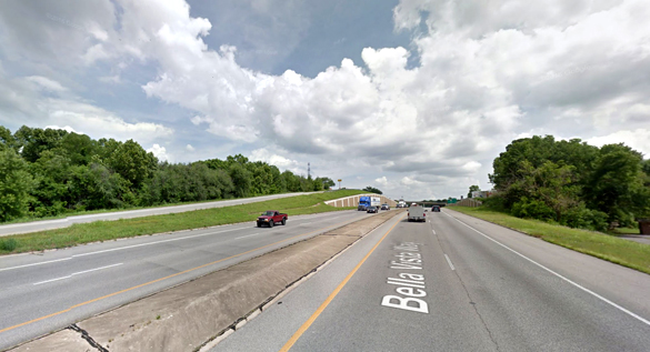 The object was first noticed hovering over the highway. Pictured: Bella Vista, AR. (Credit: Google)