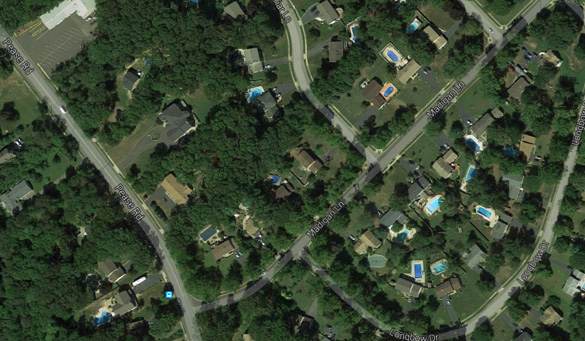 The witness said the object was moving above Madigan Lane from Pease Road, pictured, about 9:50 p.m. on June 22, 2015. (Credit: Google Maps)