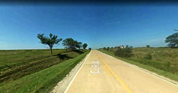 The witness watched the object instantly jump from one area of the sky to another. Pictured: Rural area near Millerton, Iowa. (Credit: Google)