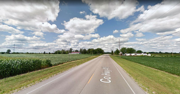 The witness saw the object hovering at the tree level. Pictured: Delphos, Ohio. (Credit: Google)