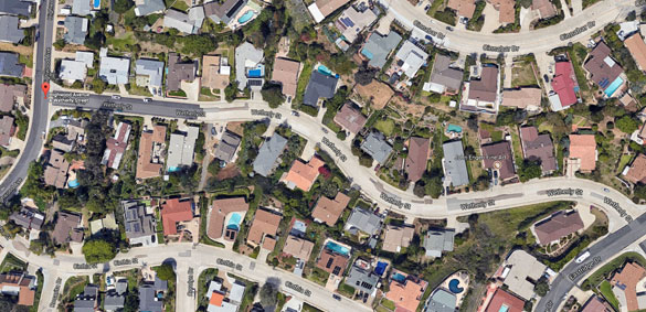There was no sound coming from the craft. Pictured: Wetherly Street in La Mesa, California. (Credit: Google)