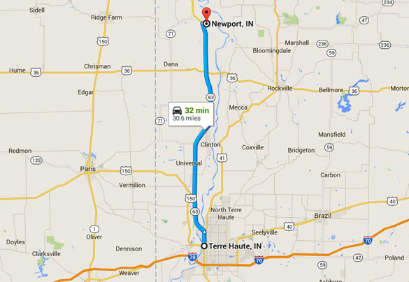 Newport, IN, today is a rural area with a population of 515. (Credit: Google Maps)