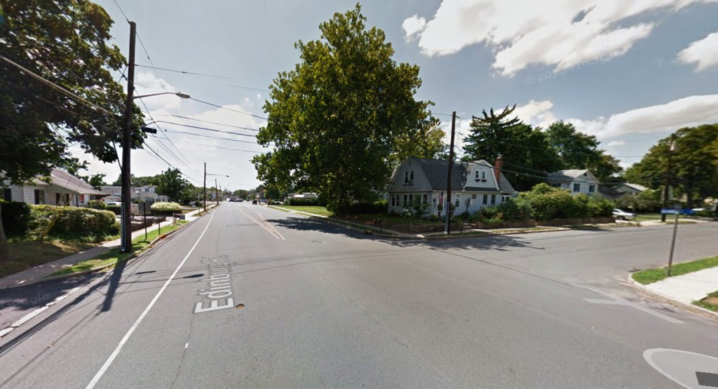 The sphere-shaped object disappeared behind trees as the witness watched about 8:50 p.m. on August 3, 2014. Pictured: Mercerville, New Jersey. (Credit: Google)