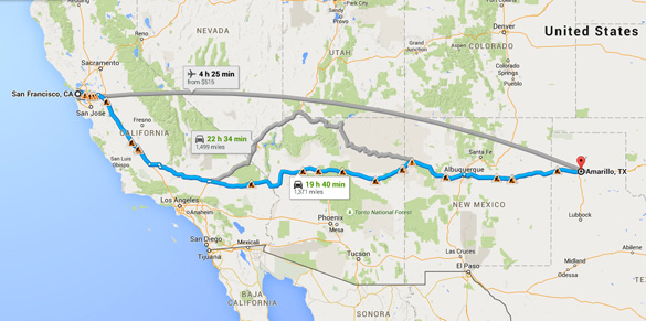 The witness was on a San Francisco flight to Amarillo, Texas – with a stop in Albuquerque, New Mexico. The UFO sighting occurred on the Albuquerque to Amarillo portion of the flight. (Credit: Google Maps)
