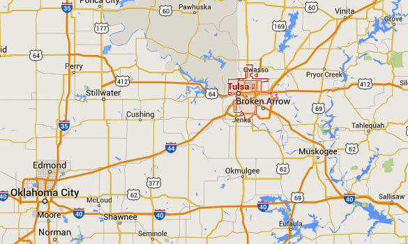 Tulsa is about 107 miles northeast of Oklahoma City, OK. (Credit: Google Maps)