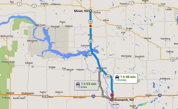 Minot, ND, is about 110 miles northwest of Bismark, ND. (Credit: Google Maps)