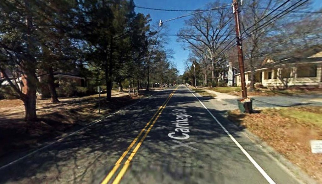 The witness quickly ran into the street to try and see the object again, but it moved away too fast. Pictured: Cameron, NC. (Credit: Google)