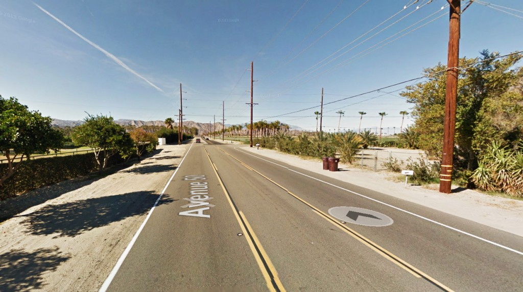 The object appeared to hover in place before shooting off into the night sky. Pictured: Indio, CA. (Credit: Google)