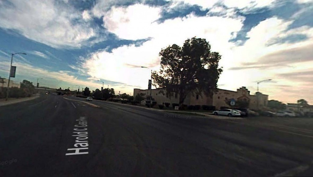 As the object moved away, the witness could see that it was saucer-shaped. Pictured: Yuma, Arizona. Credit: Google