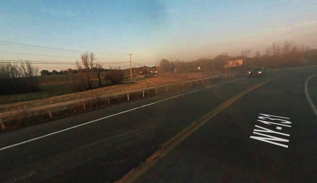 Both objects eventually moved away until they were no longer seen. Pictured: Route 131 in Massena, NY. (Credit: Google)