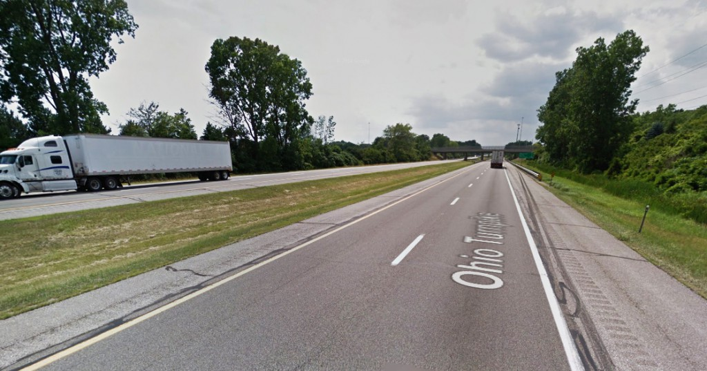 The witness said the triangle-shaped object made no noise. Pictured: A view of the sighting area from the Ohio Turnpike. (Credit: Google)