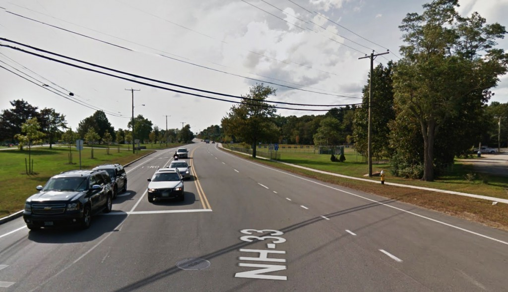 The witness could not make out the shape of the object. Pictured: Portsmouth, NH, near the intersection of Peverly and Middle roads. (Credit: Google)