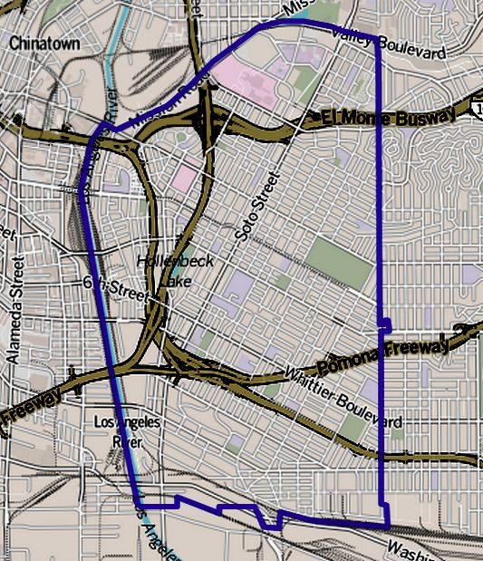 Boundaries of Boyle Heights as drawn by the Los Angeles Times. (Credit: Wikimedia Commons)