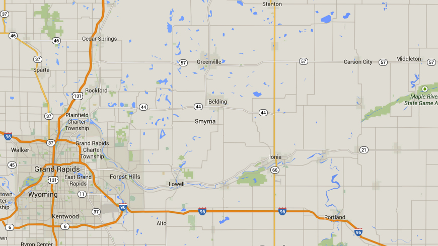 Carson City is about 100 miles northeast of Grand Rapids, MI. (Credit: Google)