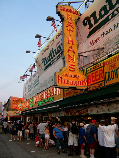 Nathan's Famous at Coney Island. (Credit: Wikimedia Commons)
