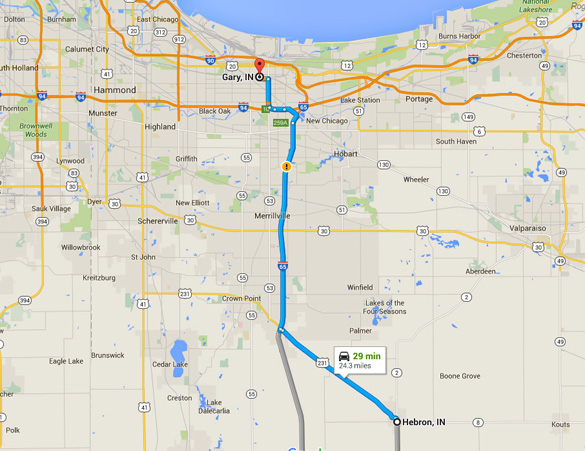 Hebron is about 30 miles southeast of Gary, Indiana. (Credit: Google Maps)