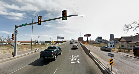 The object was in view for about 40 seconds. Pictured: Amarillo, TX. (Credit: Google)