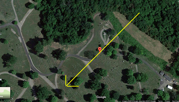 The object made no sound as it moved overhead. Pictured: A Google view of the Grandview Cemetery showing the direction of the object. (Credit: Google Maps)