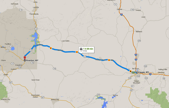 Riverton is about 120 miles west of Casper, WY. (Credit: Google Maps)