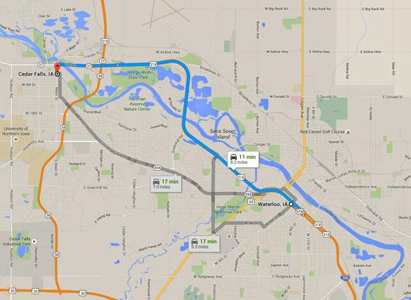Cedar Falls is about eight miles northwest of Waterloo, Iowa. (Credit: Google)