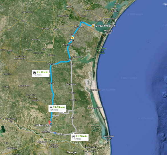 Edinburg is about 150 southwest of Corpus Christi, Texas. (Credit: Google)