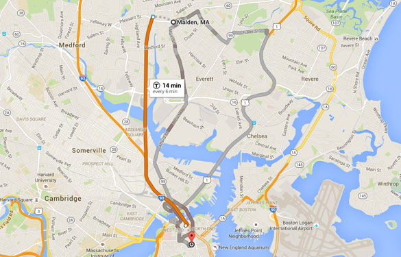 Malden is about six miles directly north of Boston, MA. (Credit: Google)