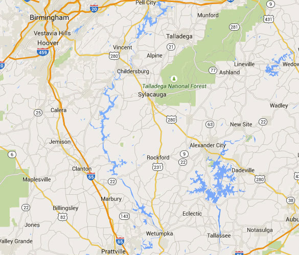 Dadesville is about 85 miles southeast of Birmingham, AL. (Credit: Google Map)