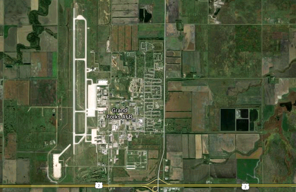The object hovered over a roadway near Grand Forks Air Force Base. (Credit: Google)