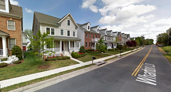 The object had a row of four or five lights along each side of its V shape. Pictured: Centreville, VA. (Credit: Google)