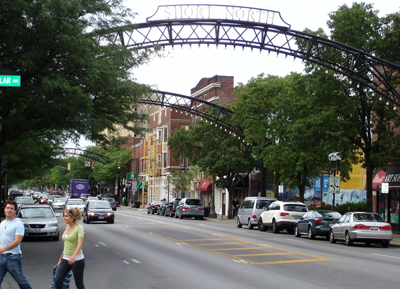 The UFO appeared to be gliding silently over the city. Pictured: Short North district in Columbus, OH. (Credit: Wikimedia Commons)