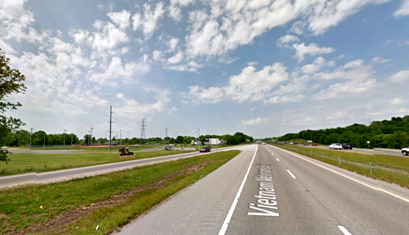 The object was described as 15 feet long and about three feet in diameter as it moved low over Vietnam Veteran's Parkway, pictured. (Credit: Google)