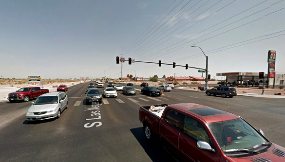 The object moved into a cloud and disappeared. Pictured: Las Vegas Boulevard at Blue Diamond intersection. (Credit: Google)
