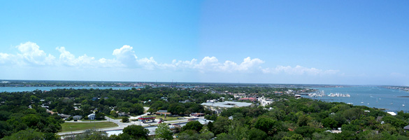 View of St. Augustine, FL, from the top of a lighthouse on Anastasia Island. (Credit: Wikimedia Commons)