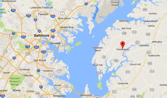 Chestertown is directly east of Baltimore, MD. (Credit: Google)