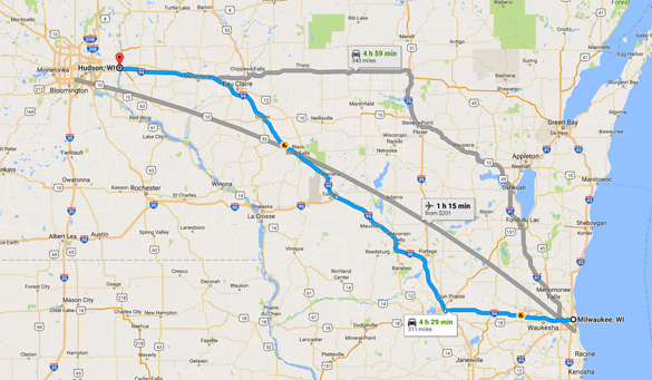 Hudson, WI, is about 320 miles northwest of Milwaukee. (Credit: Google)