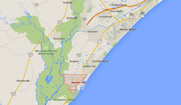 Murrells Inlet, SC, is about 13 miles southwest of Myrtle Beach. (Credit: Google Maps)