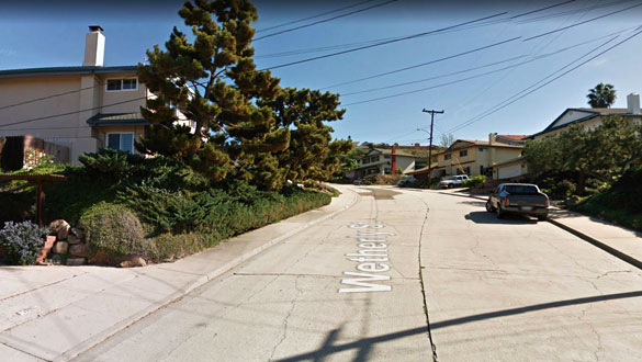 The witness could see white lights at the object's three points. Pictured: Wetherly Street in La Mesa, California. (Credit: Google)