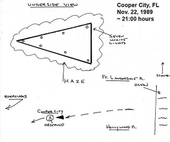 Underside illustrations of an arrowhead-shaped UFO from a 1989 sighting in Cooper City, FL. (Credit: UFOevidence.org)