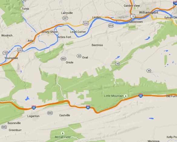 Loganton is about 33 miles southwest of Williamsport, PA. (Credit: Google Maps)