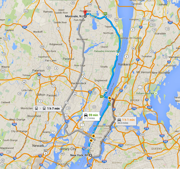 Montvale, NJ, is about 30 miles directly north of New York City. (Credit: Google Maps)